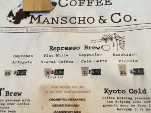Coffee menu at the Japanese cafe
