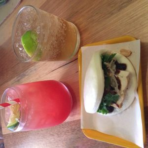 Cocktails and steamed tofu bun at Shop Ramen