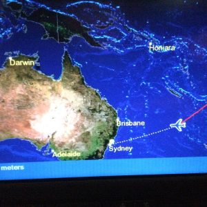 In-flight map: flying in to Sydney