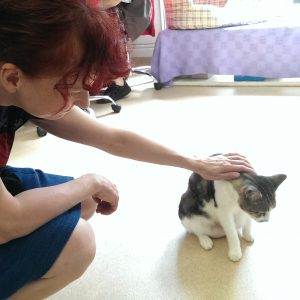 Me, getting my kitty fix (photo: Mike Baehr)