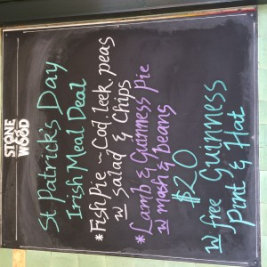 St. Patrick's Day specials at the pub in Bangalow